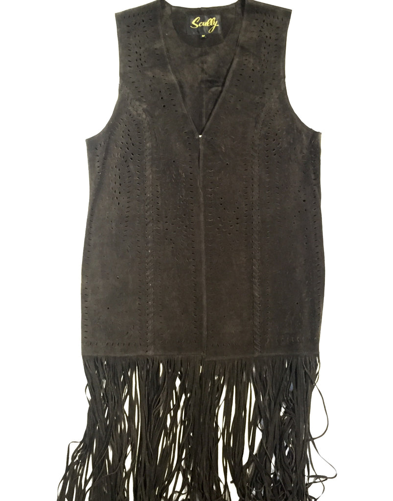 Scully Suede Full Length Fringe Vest - Dudes Boutique - 1