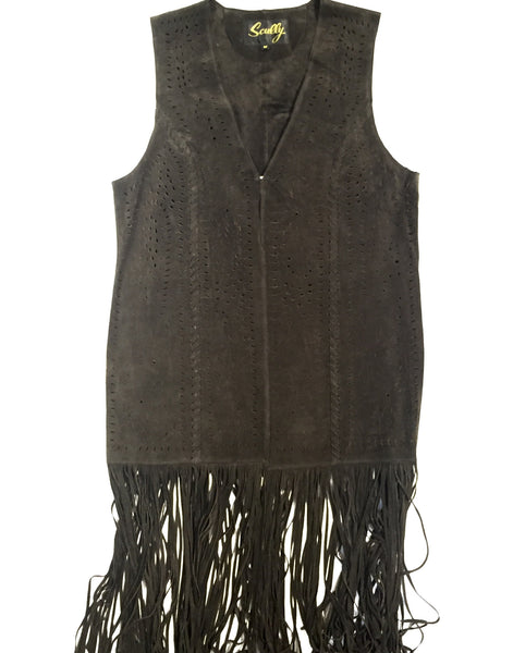 Scully Suede Full Length Fringe Vest - Dudes Boutique