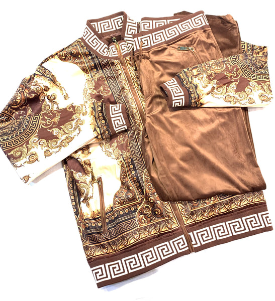 Prestige Brown Gold Velour Medusa Jogger Set - Dudes Boutique