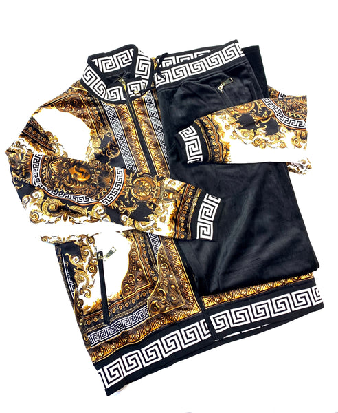 Prestige Black Gold Velour Medusa Jogger Set - Dudes Boutique