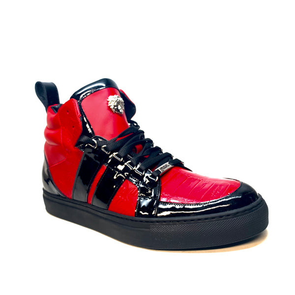 "Mauri ""8410"" Red Black Alligator/Patent Leather High-Top Sneaker - Dudes Boutique"