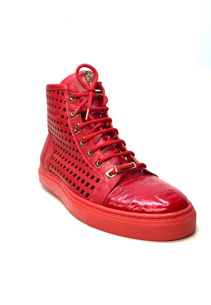 Mauri 8513 Candy Red Perforated High top Sneakers - Dudes Boutique