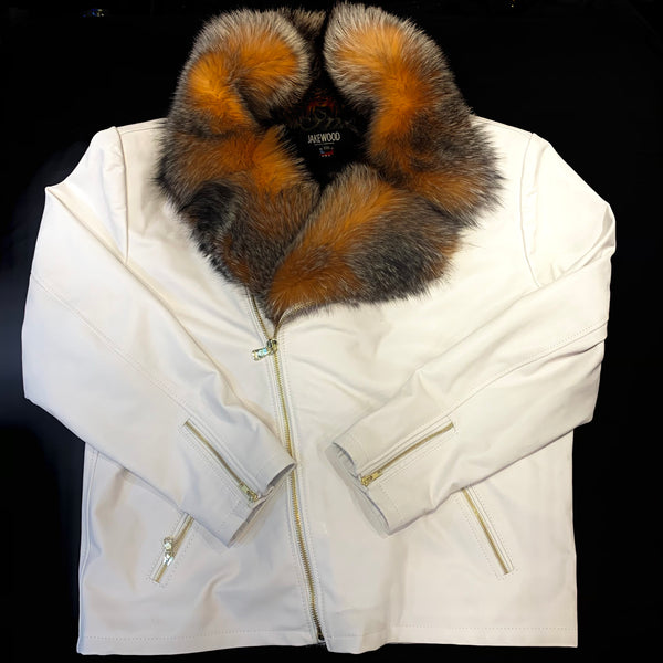 Kashani Men's White LambSkin Red Fox Collar Biker Jacket - Dudes Boutique
