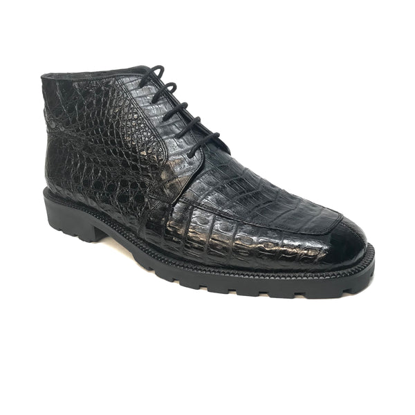 Los Altos Black Crocodile Belly Ankle Boots