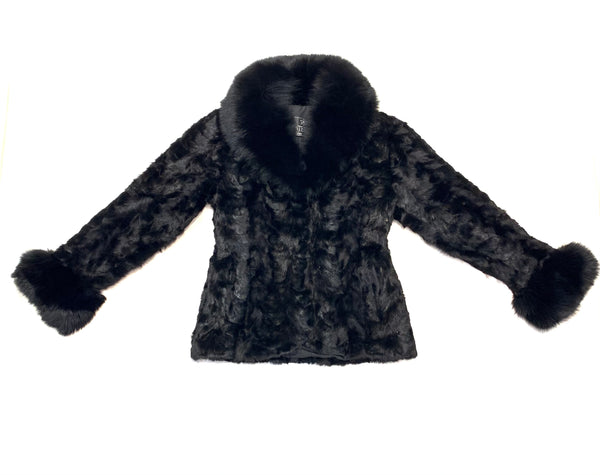 Kashani Women's Black Mink Jacket with Fox Fur Lining - Dudes Boutique