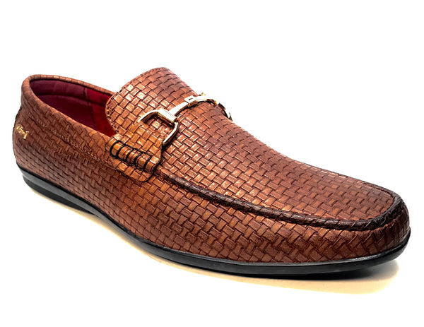 Tayno Buckled Brown Woven Leather Driving Loafers - Dudes Boutique