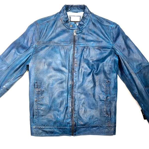 Missani Le Collezioni Carolina Blue Lambskin Leather Jacket