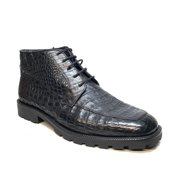 Los Altos  Black All-Over Crocodile Belly Lace Up Ankle Boots - Dudes Boutique