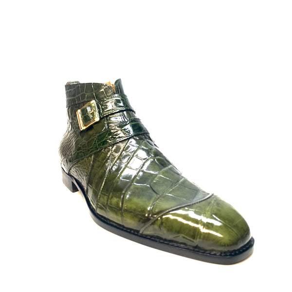 "Mauri "" 4848"" Olive Green Alligator Monk Strap Zipper Boots - Dudes Boutique"