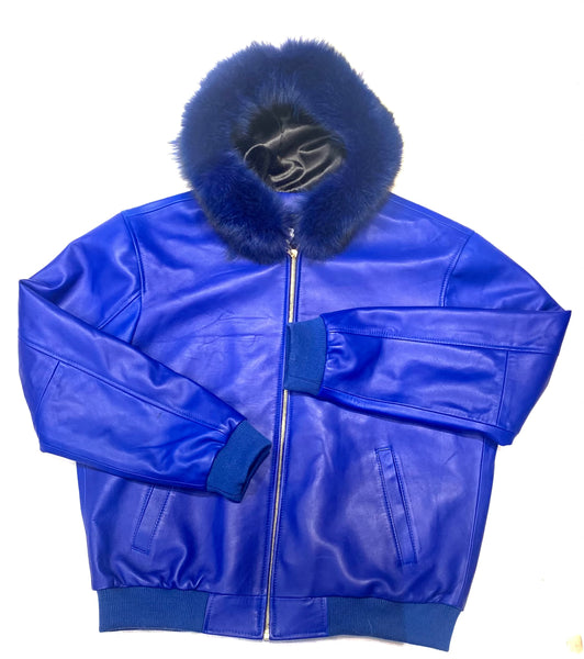 Kashani Royal Blue Lamb Skin Fox Hooded Bomber Jacket - Dudes Boutique