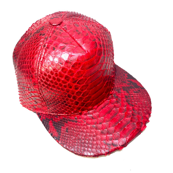 Barya NewYork All-Over Red Python Strap-Back Hat - Dudes Boutique