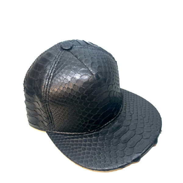 Barya NewYork All-Over Black Python Strap-Back Hat - Dudes Boutique