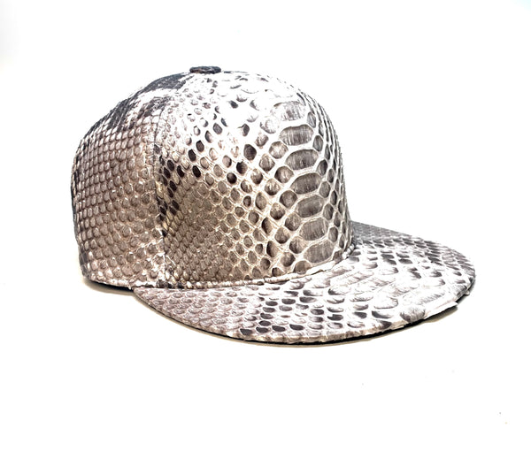 Barya Newyork All-Over Natural Python Strap-Back Hat - Dudes Boutique