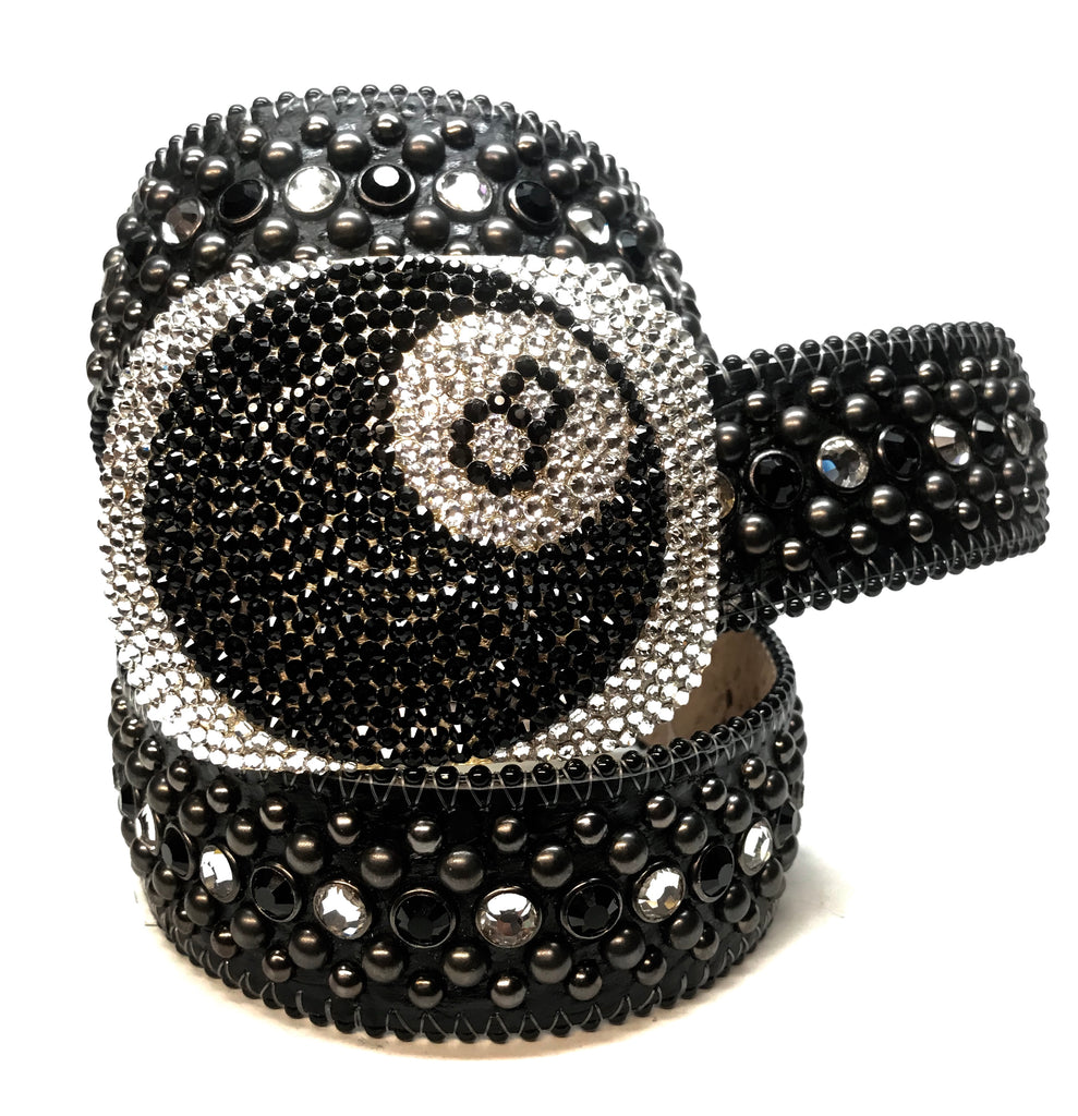 b.b. Simon Classic '8 Ball' Black Swarovski Crystal Belt