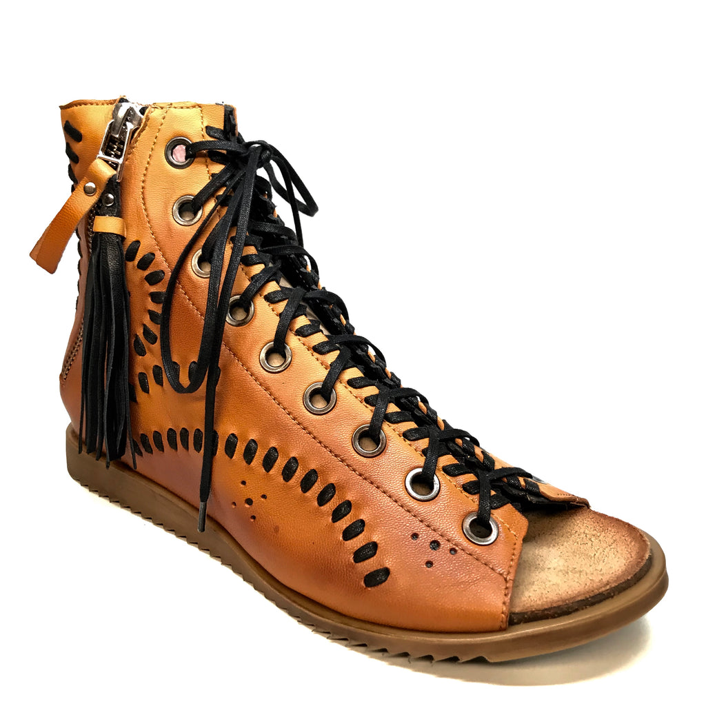 Maciejka Cognac Lambskin Leather Lace Up Sandals