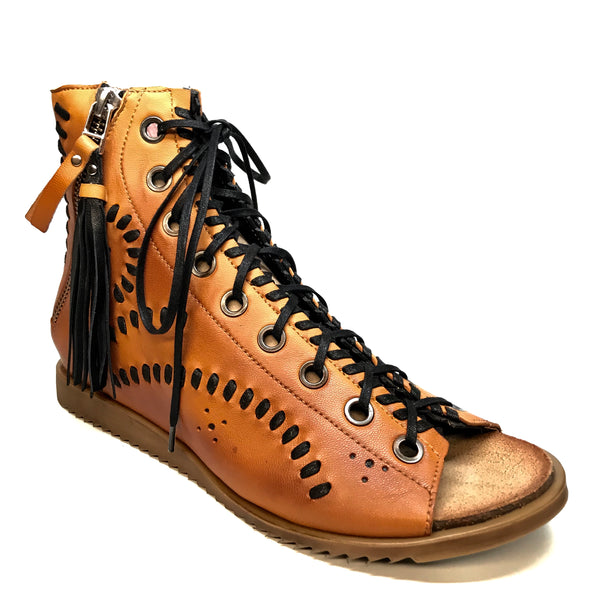 Maciejka Cognac Lambskin Leather Lace Up Sandals - Dudes Boutique