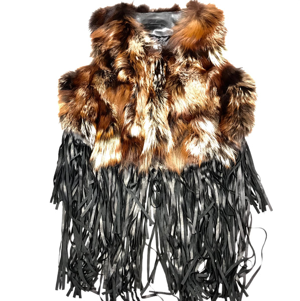 Mitchie's Natural Fox Fur Fringe Leather Vest