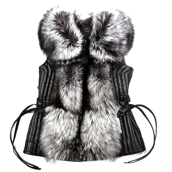 Mitchie's Silver Fox Fur Lamb Leather Vest