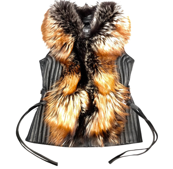Mitchie's Natural Fox Fur Lamb Leather Vest