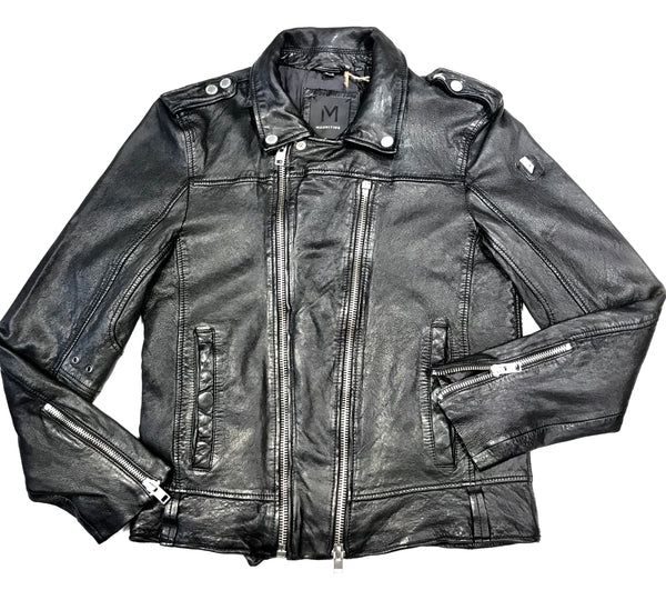 Mauritius Men's Black Double Zip Lambskin Biker Jacket