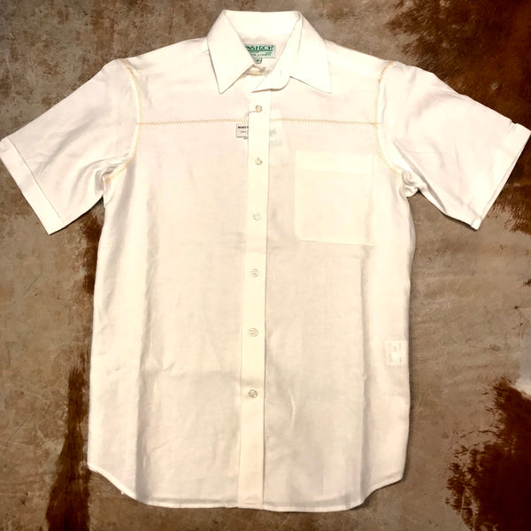 Inserch Orange Stitch White Linen Button Up Shirt