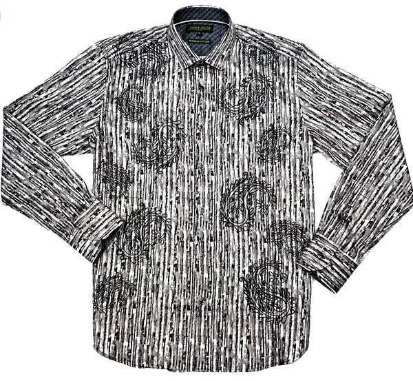 Inserch Charcoal Striped Paisley Button Up Shirt - Dudes Boutique