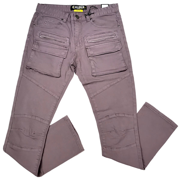 Calbera Light Purple Washed Tactical Cargo Jeans