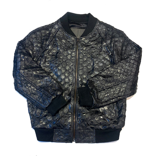 Kashani Pirarucu Black Bomber Jacket - Dudes Boutique