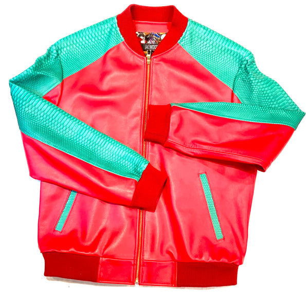 Kashani Python Red Green Bomber Jacket - Dudes Boutique