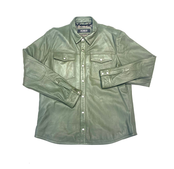 Kashani Men's Olive Green Lambskin Button-Up Shirt - Dudes Boutique