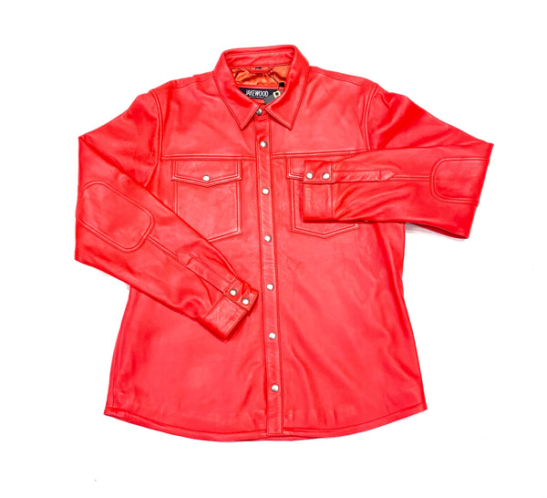 Kashani Men's Light Red Lambskin Button-Up Shirt - Dudes Boutique