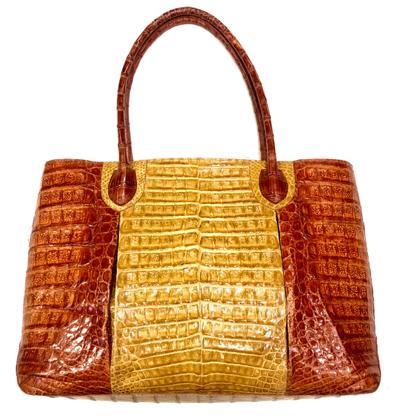 Kashani Two Tone All Over Alligator Handbag