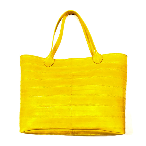 Kashani Canary Yellow Eel Skin Purse Handbag