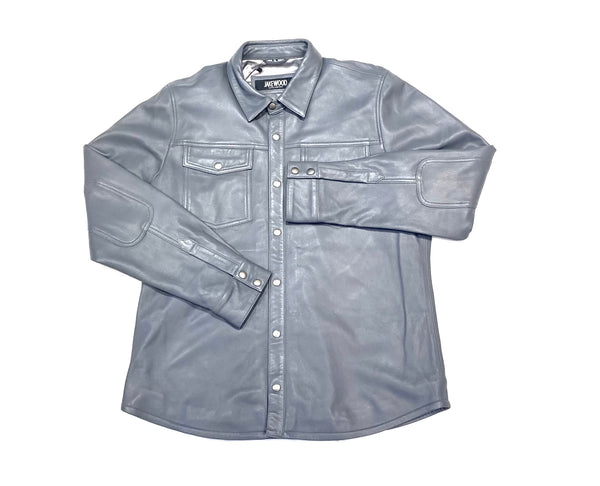 Kashani Men's Grey Lambskin Button-Up Shirt - Dudes Boutique