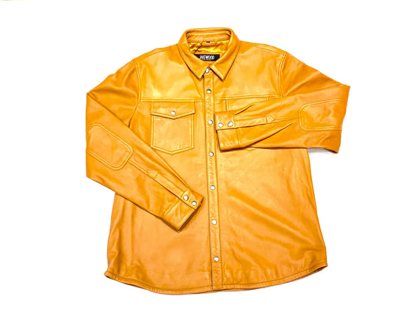 Kashani Men's Carmel Lambskin Button-Up Shirt - Dudes Boutique