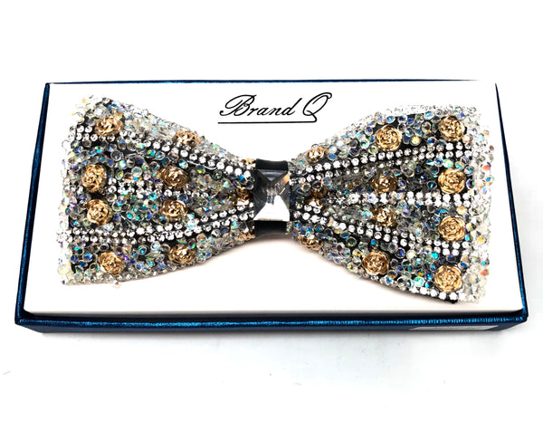 Gold Rose Multicolor Fully Loaded Crystal Bow Tie
