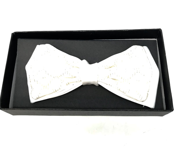White Diamond Cut Shine Bow Tie