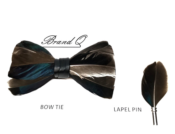 Peacock Brown Feather Bow Tie + Lapel Pin