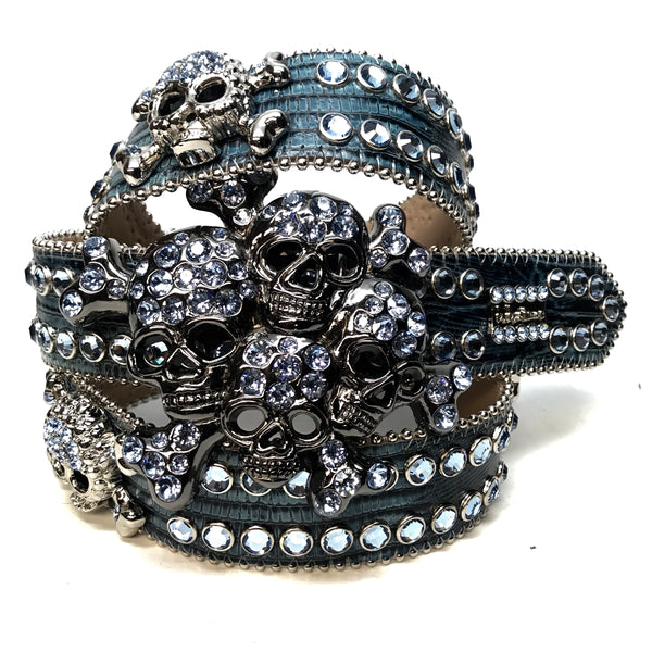 b.b. Simon Skull Blue Lizard Fully Loaded Double Row Swarovski Crystal Belt