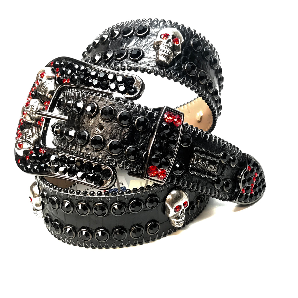 b.b. Simon Skull Black Red Fully Loaded Double Row Crystal Belt - Dudes Boutique