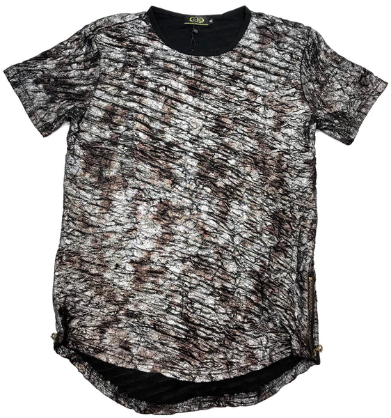 Gold Leaf Metallic Coffee Ribbed Short Sleeve Shirt - Dudes Boutique