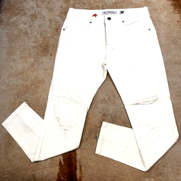 Mondo White Double Zip Ripped Denim Jeans - Dudes Boutique