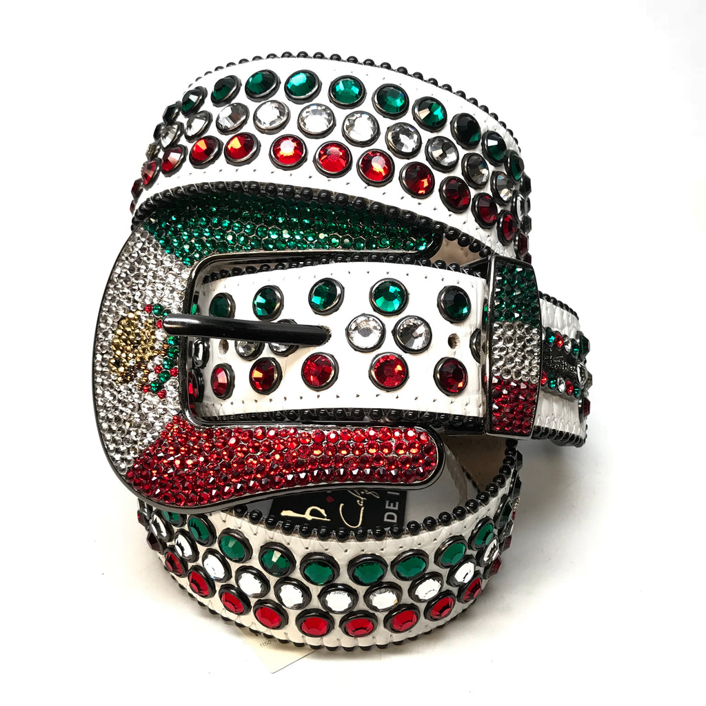 "B.B Simon ""Mexican Flag"" Fully Loaded Crystal Belt - Dudes Boutique"