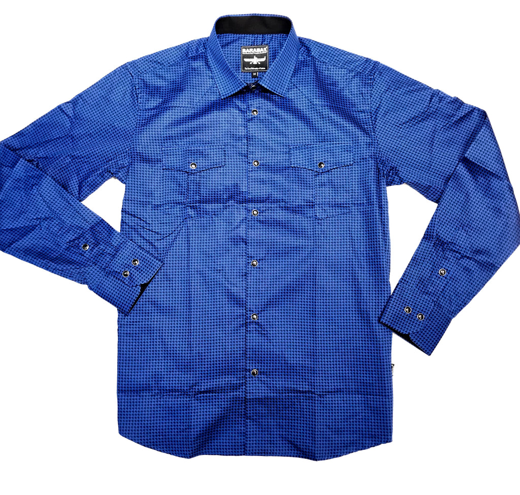 Barabas Blue Arrow Point Button Up Shirt - Dudes Boutique