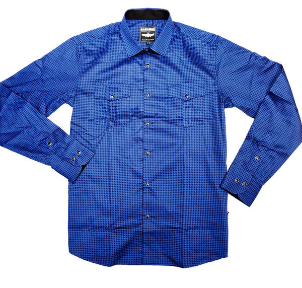 Barabas Blue Arrow Point Button Up Shirt