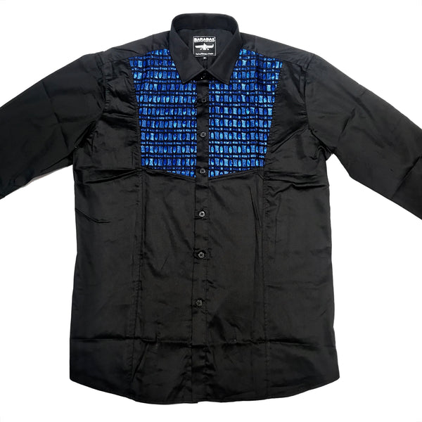 Barabas Blue Grid Tuxedo Button Up Shirt