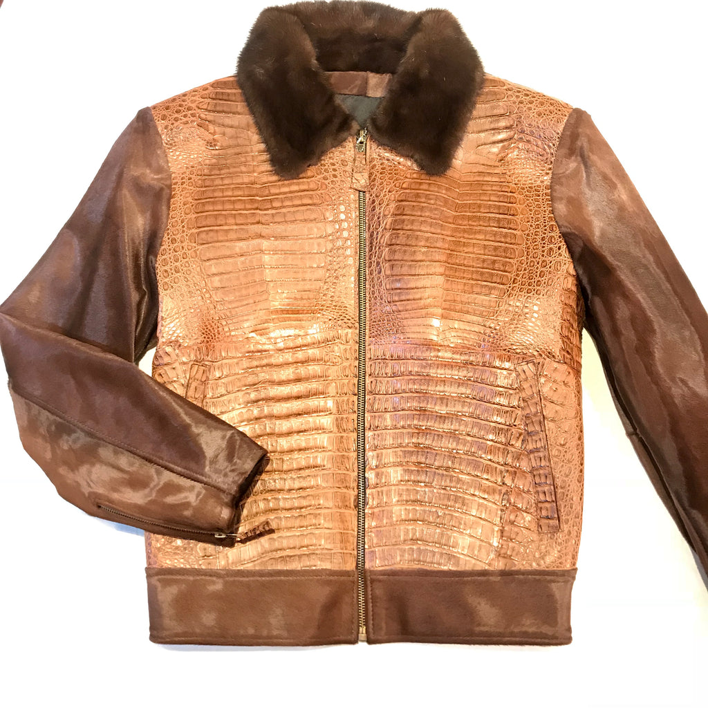 Kashani Brown Full Alligator Pony Sleeve Mink Collar Bomber Jacket