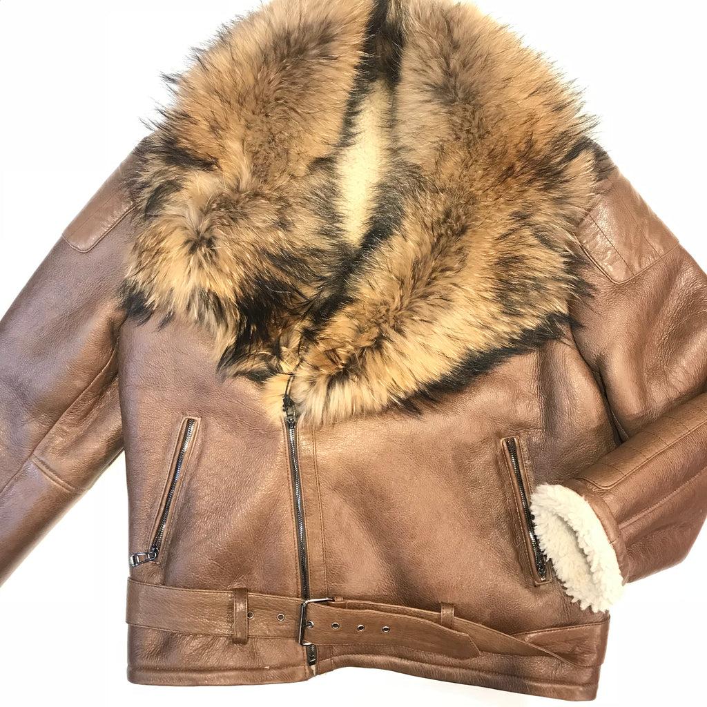 Kashani Chocolate Oversized Fox Collar Shearling Biker Jacket