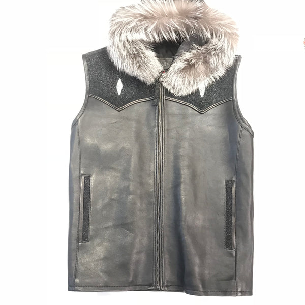 Kashani Black Stingray Silver Fox Hooded Vest