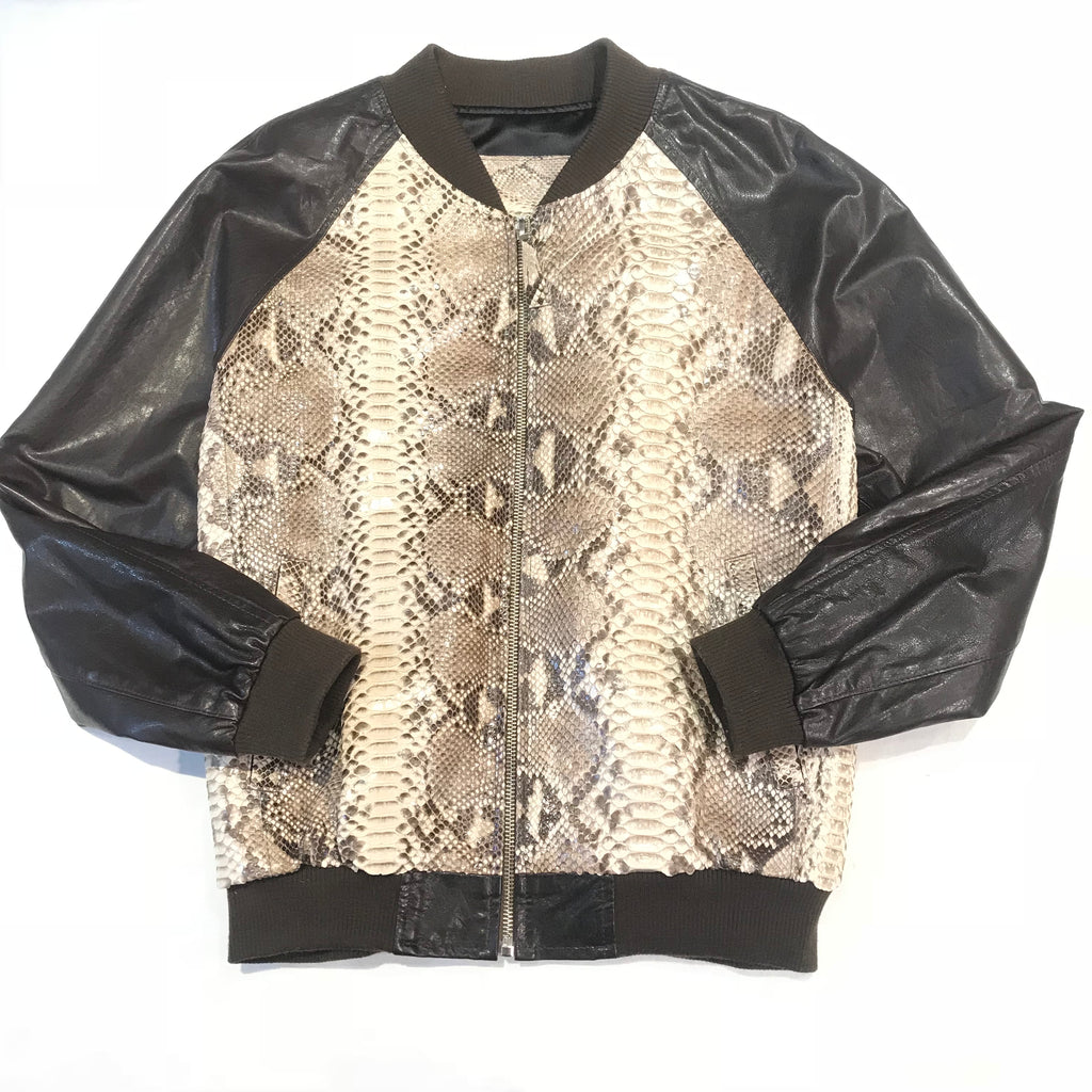 Kashani Dark Brown Natural Python Bomber Jacket